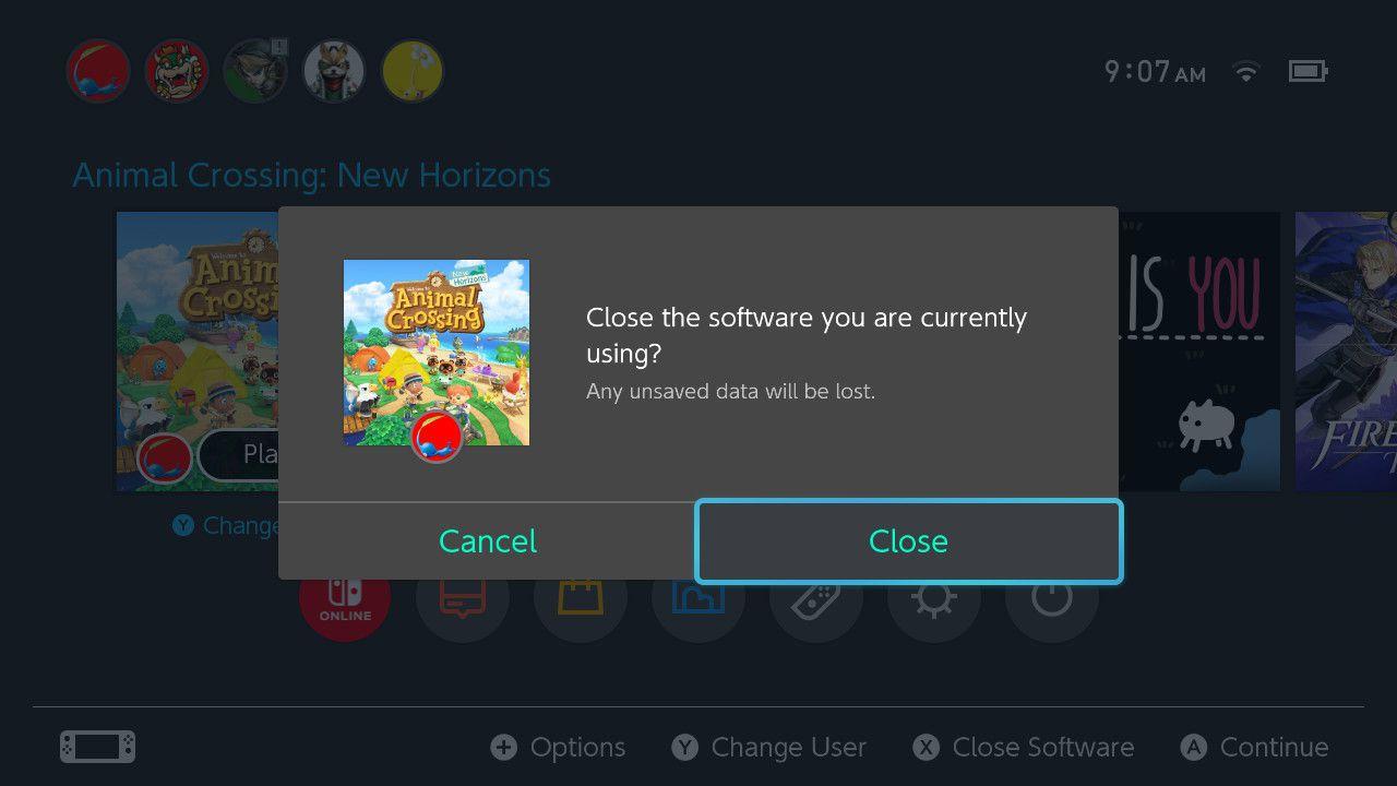 Closing Animal Crossing: New Horizons software on Nintendo Switch