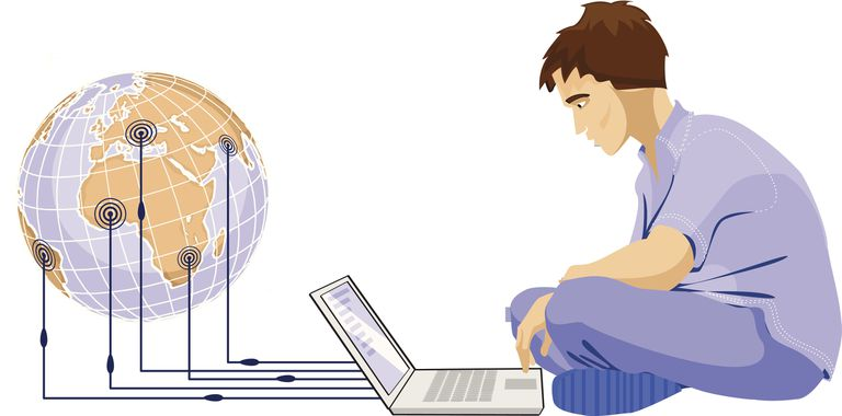 An illustration of someone using torrents on laptop to download music and movies from the web.