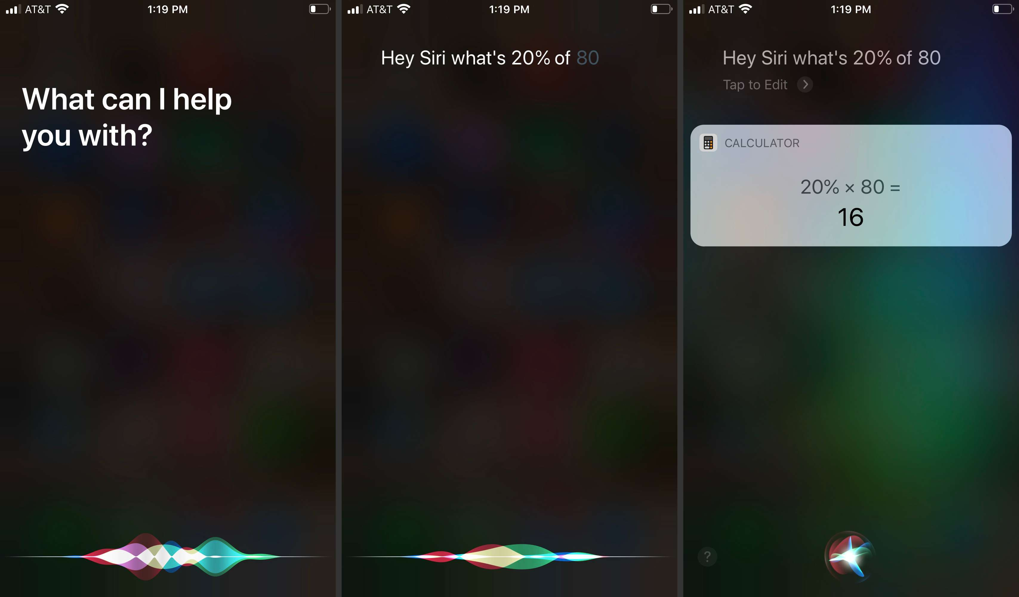 Using Siri commands with AirPods to make a calculation