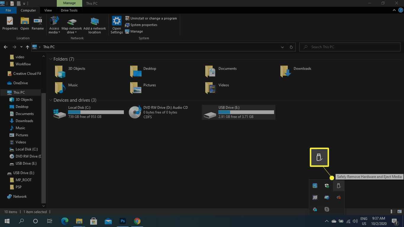 Safely Remove Hardware on the bottom menu bar of a PC