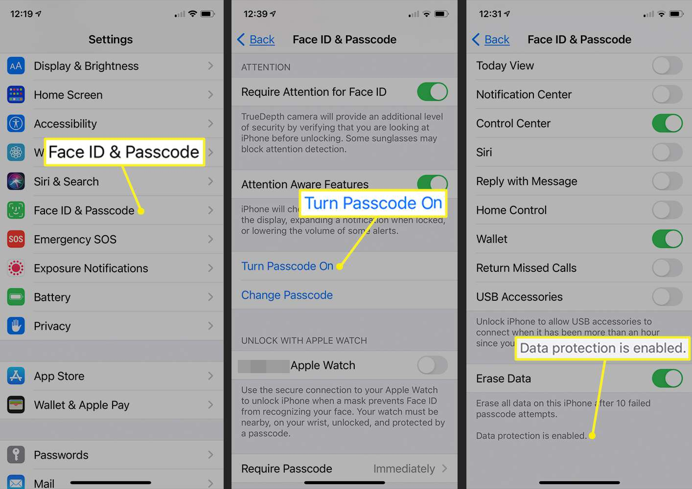 iPhone path to turn passcode on and enable data protection