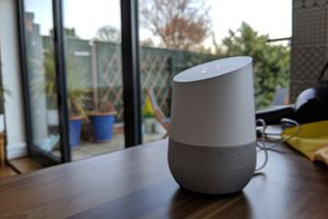 Google Home speaker on kitchen table