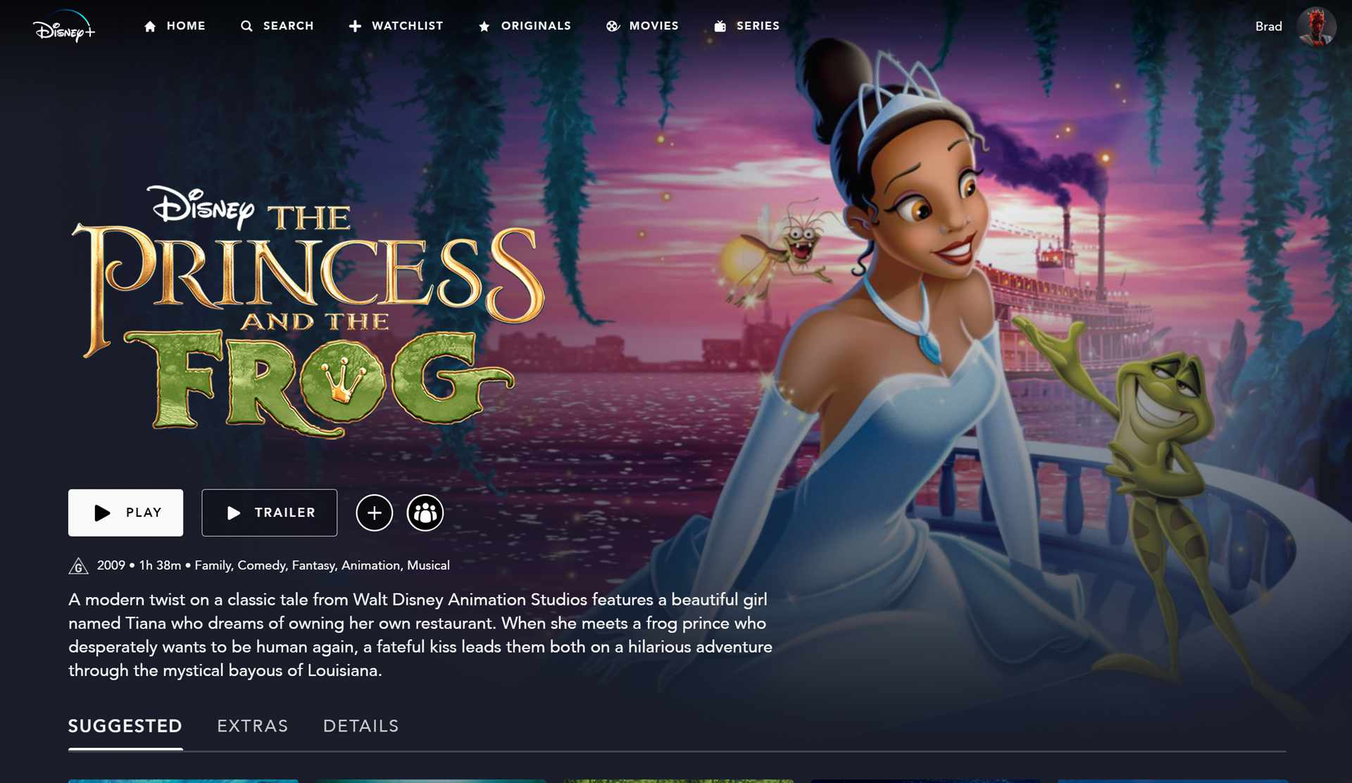 The Princess and the Frog on Disney Plus.