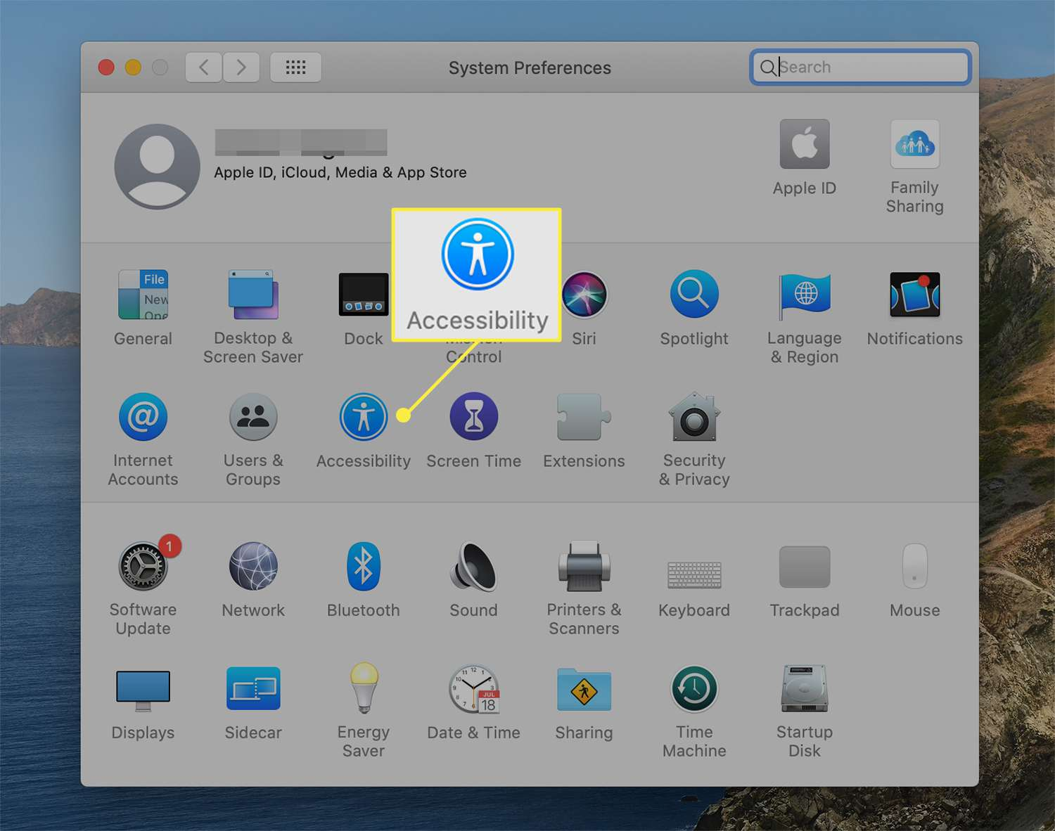 Accessibility options icon from macOS System Preferences