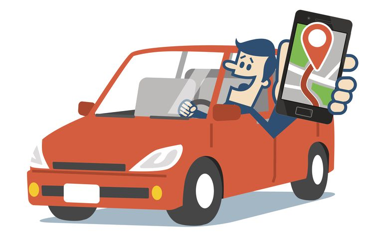 Illustration of man driving car using mobile GPS navigation app