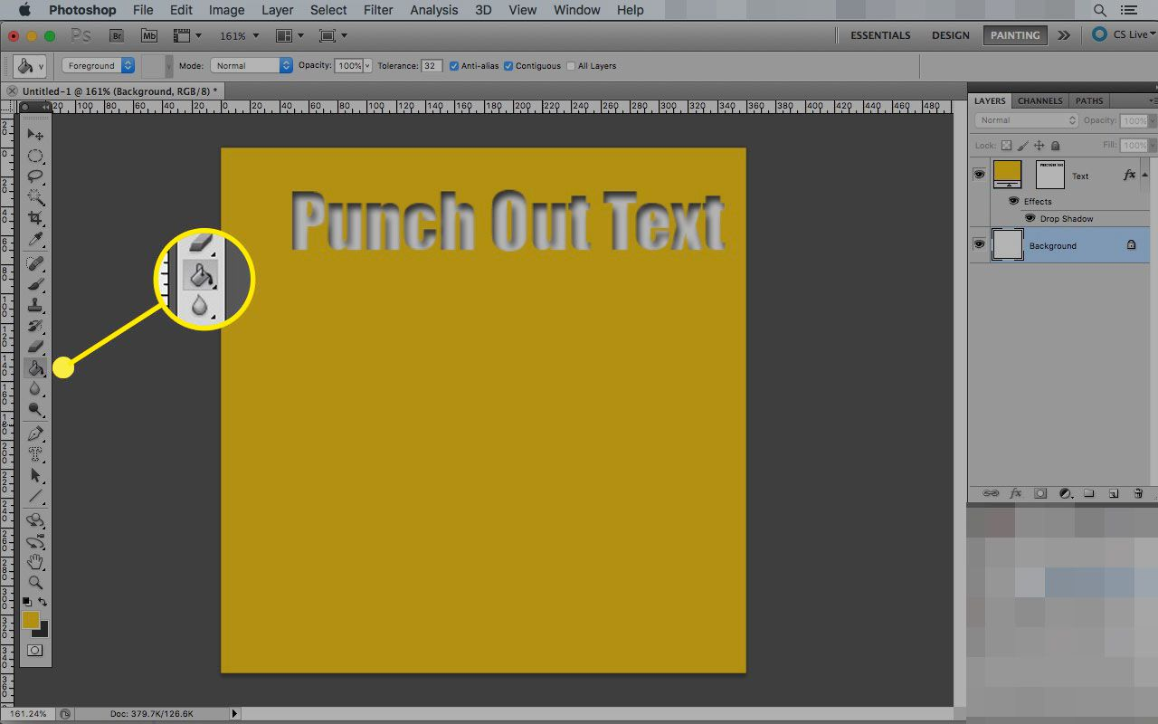 Photoshop on a Mac with the Paint Bucket tool highlighted