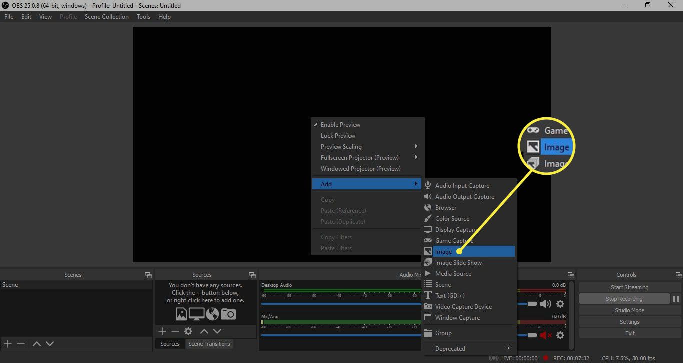 Image in OBS Studio workspace