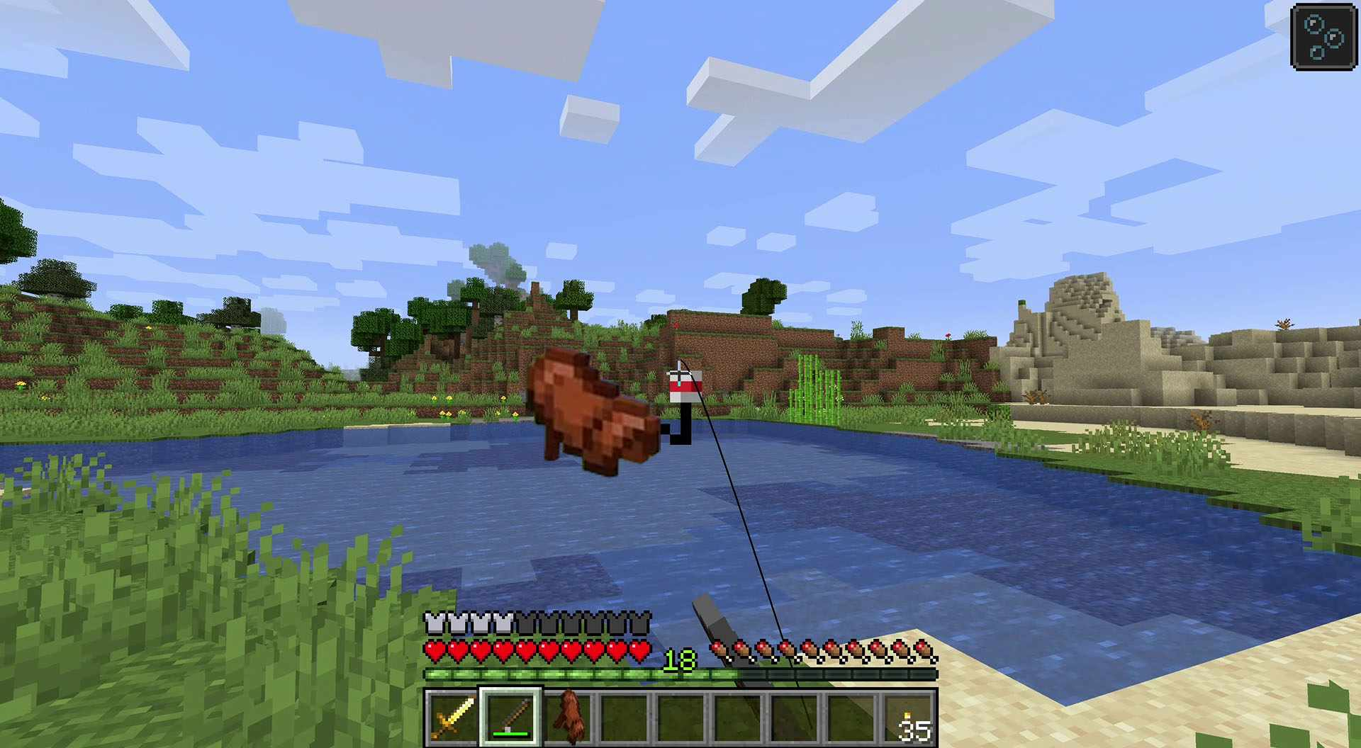 Catching a saddle in Minecraft.