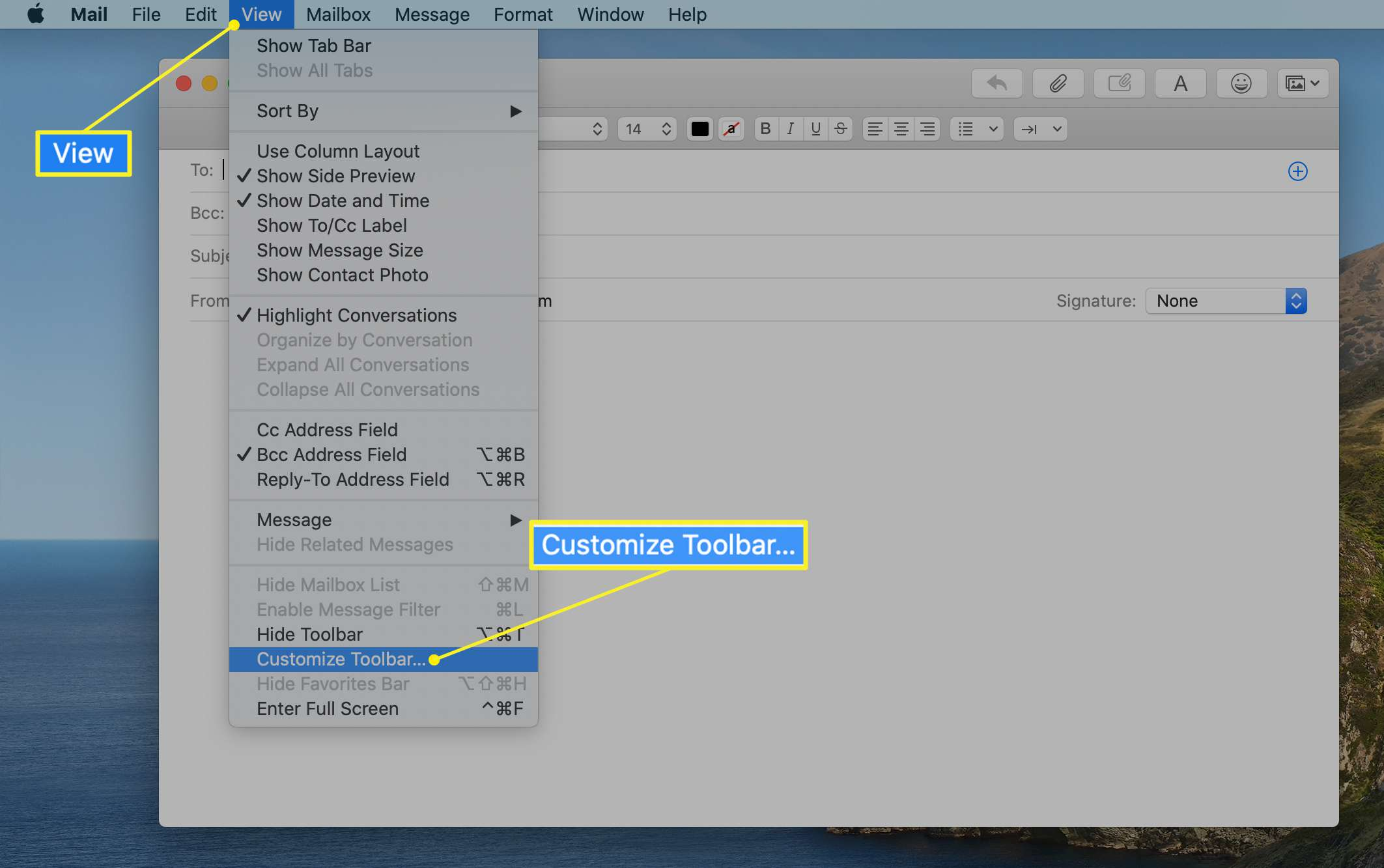 The Mail View menu with Customize Toolbar highlighted