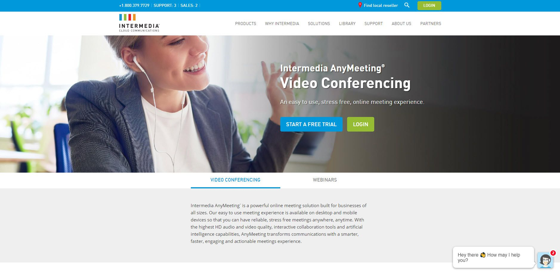 A screenshot of the Intermedia AnyMeeting website.