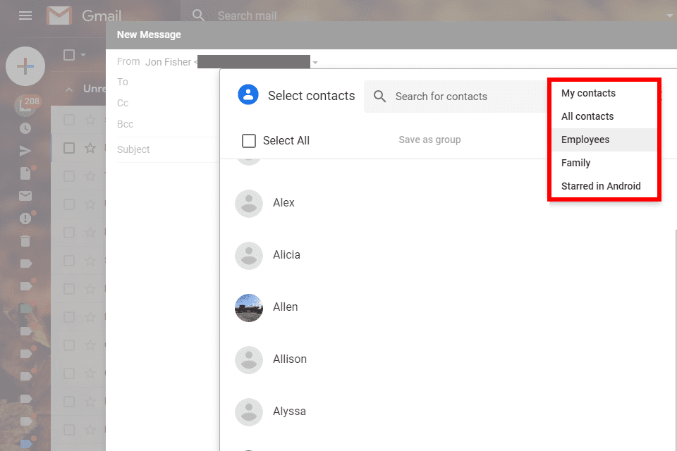 Screenshot showing how to select a group of Gmail contacts before sending a message