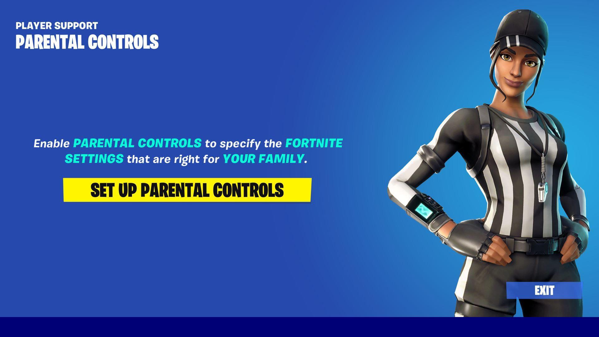 A screenshot of the Fortnite parental control setup screen.