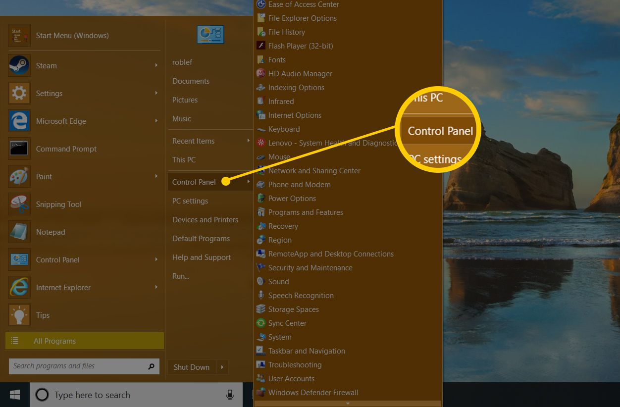 open Control Panel from the Windows 10 start menu