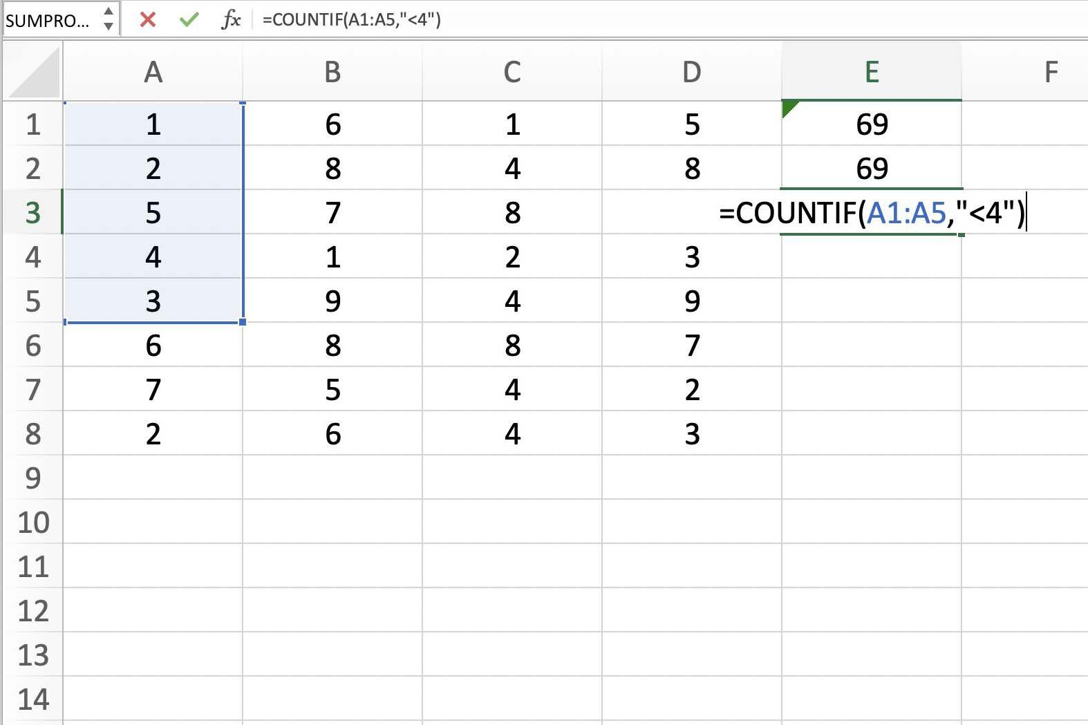 Screenshot of Excel showing a range