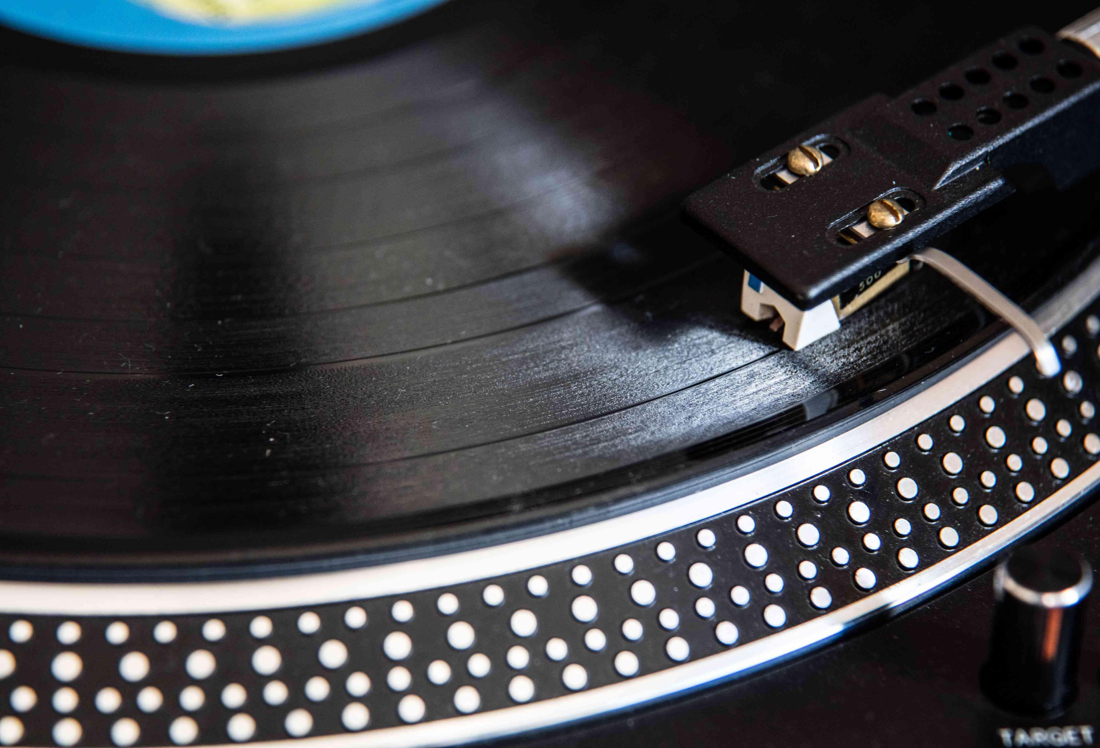 A vinyl LP on a turntable