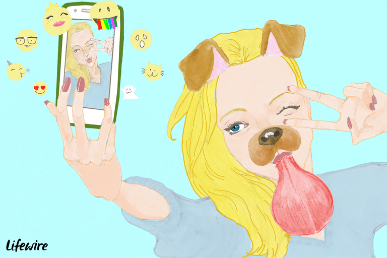 An illustration of a woman using a funny Snapchat filter.