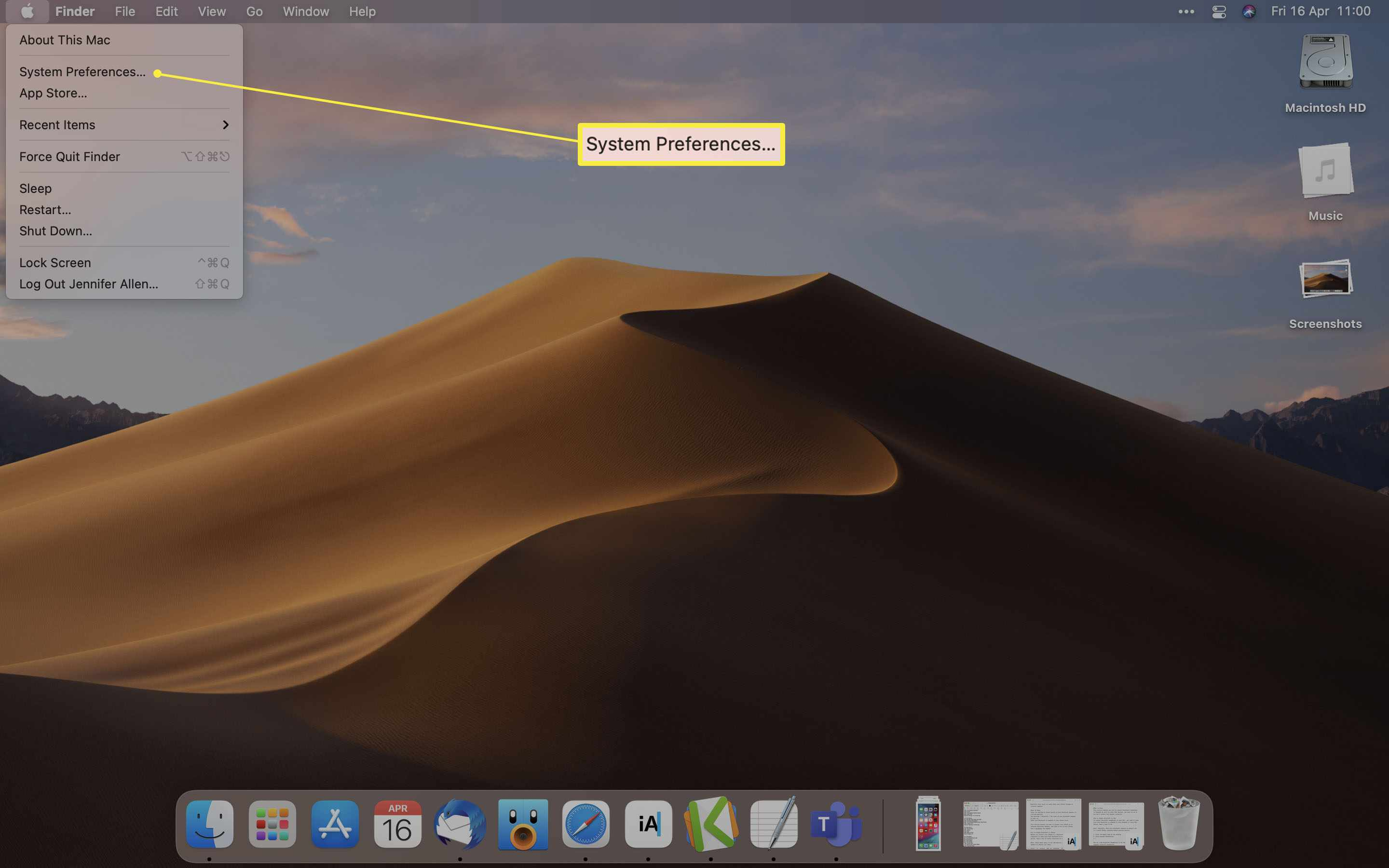 Apple Desktop with System Preferences highlighted