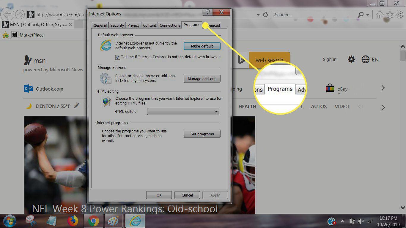 Programs tab in IE settings