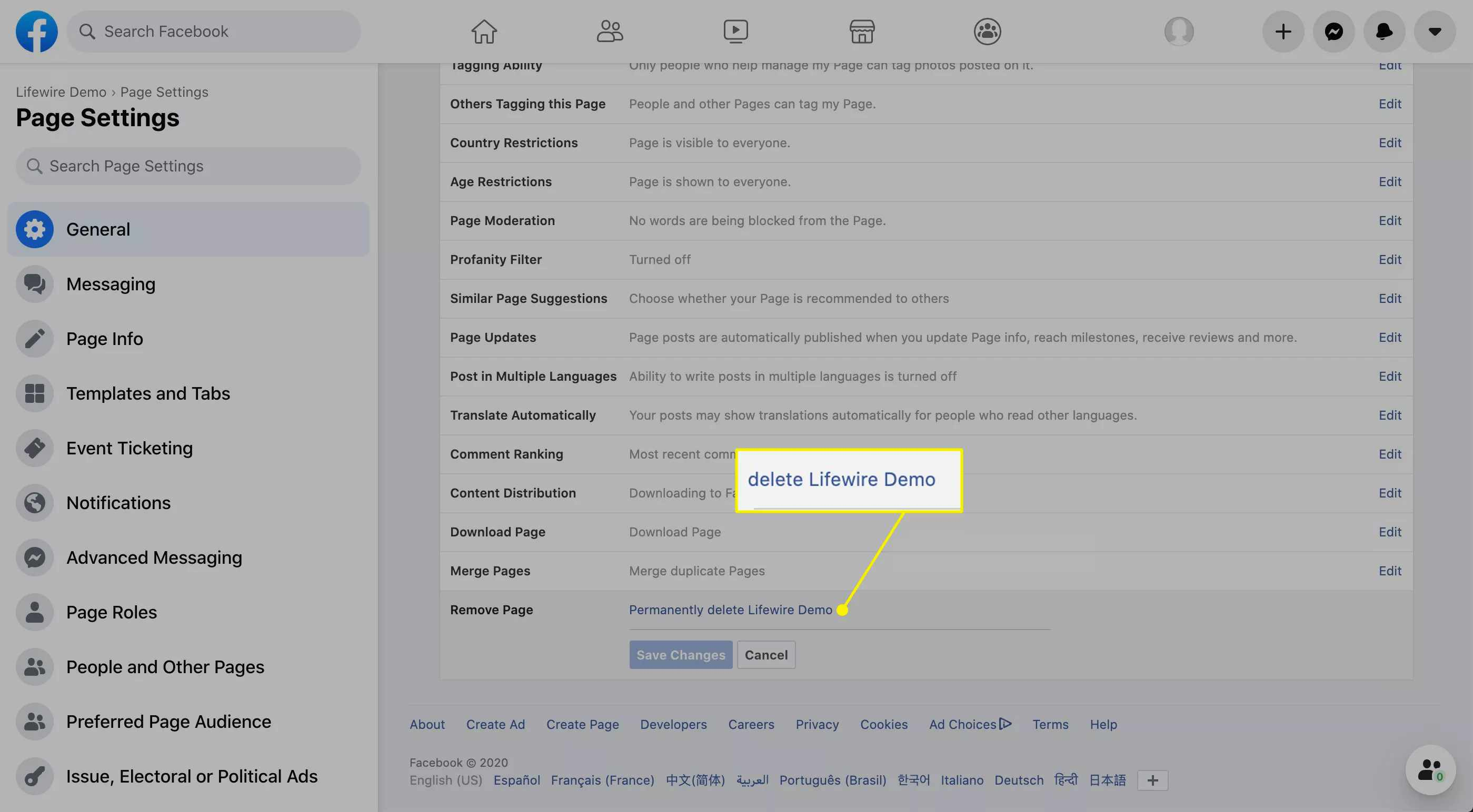 Facebook Page deletion screen