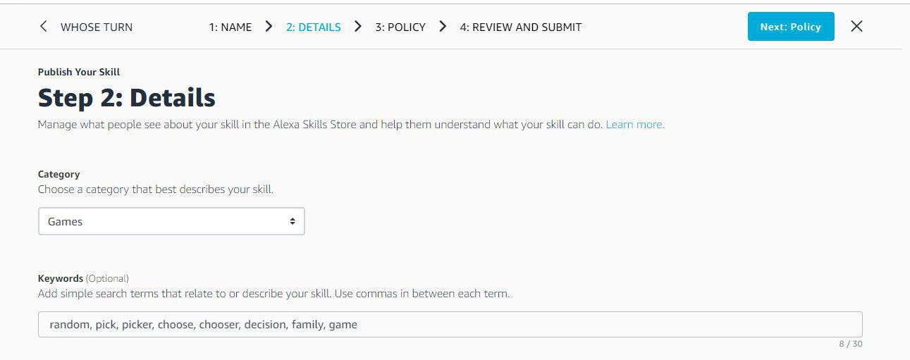 Screenshot of the Category and Keywords fields for adding a skill to the Alexa Skills Store.