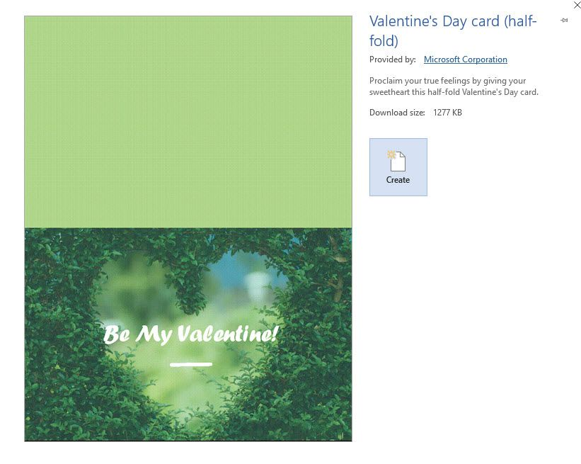 A Screenshot Of The Microsoft Word Valentine S Day Half Fold Card Template