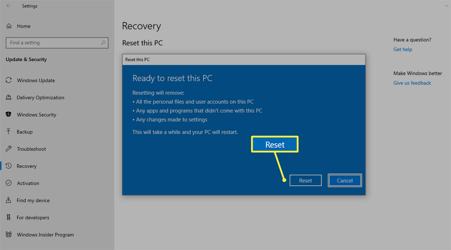 Reset button to factory reset a PC running on Windows 10