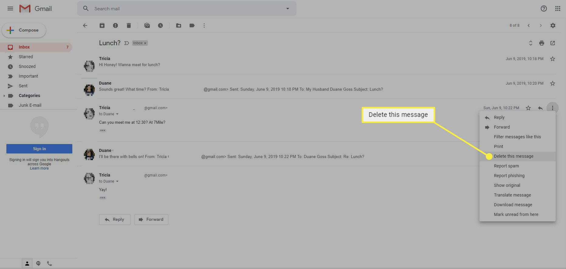 Gmail with the Delete this Message command highlighted