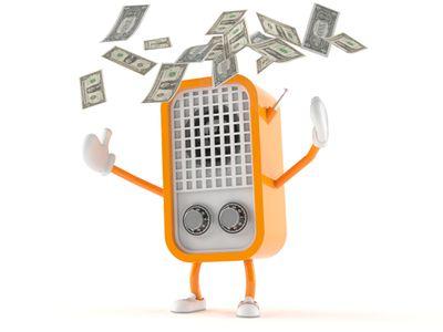A Cartoon Radio Throws Money In The Air
