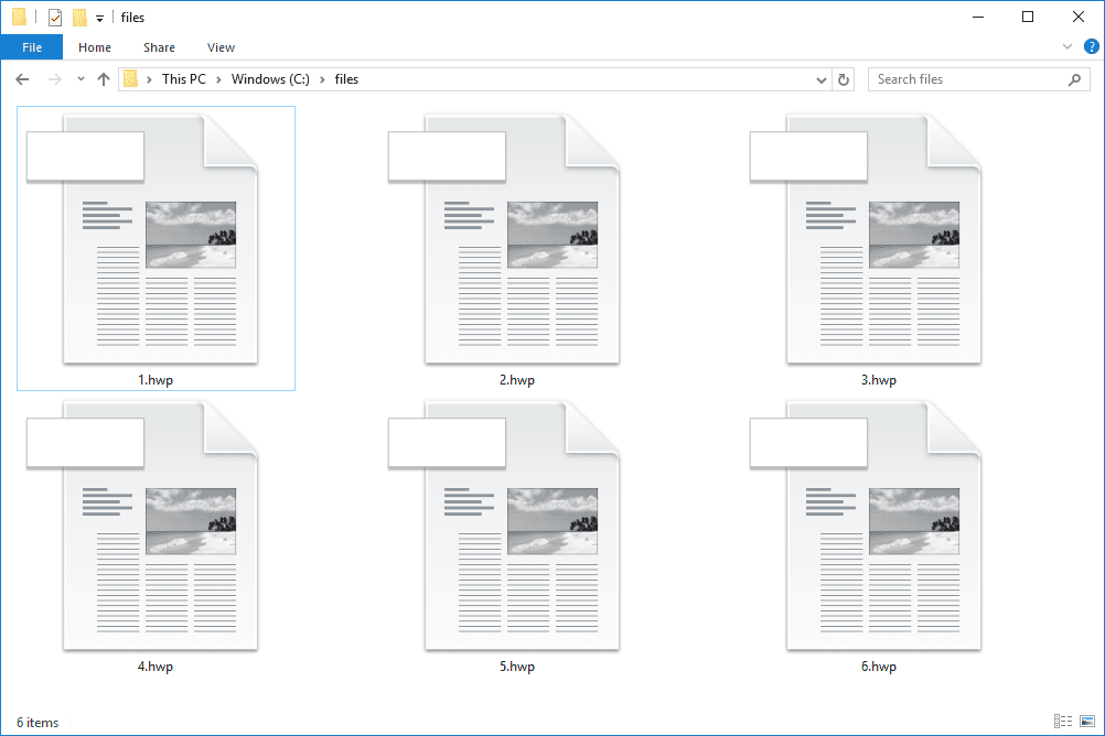 Screenshot of several HWP files in Windows 10 that open with OpenOffice
