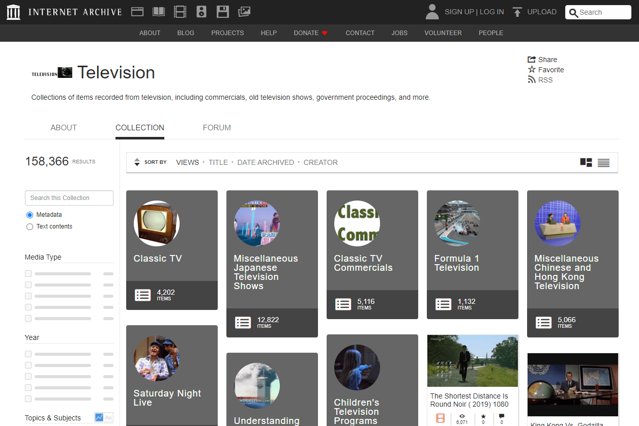 Television page on Internet Archive