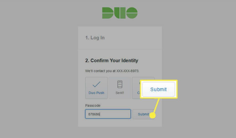 Enter or paste the 6-digit login code into the Passcode field, then select Submit.