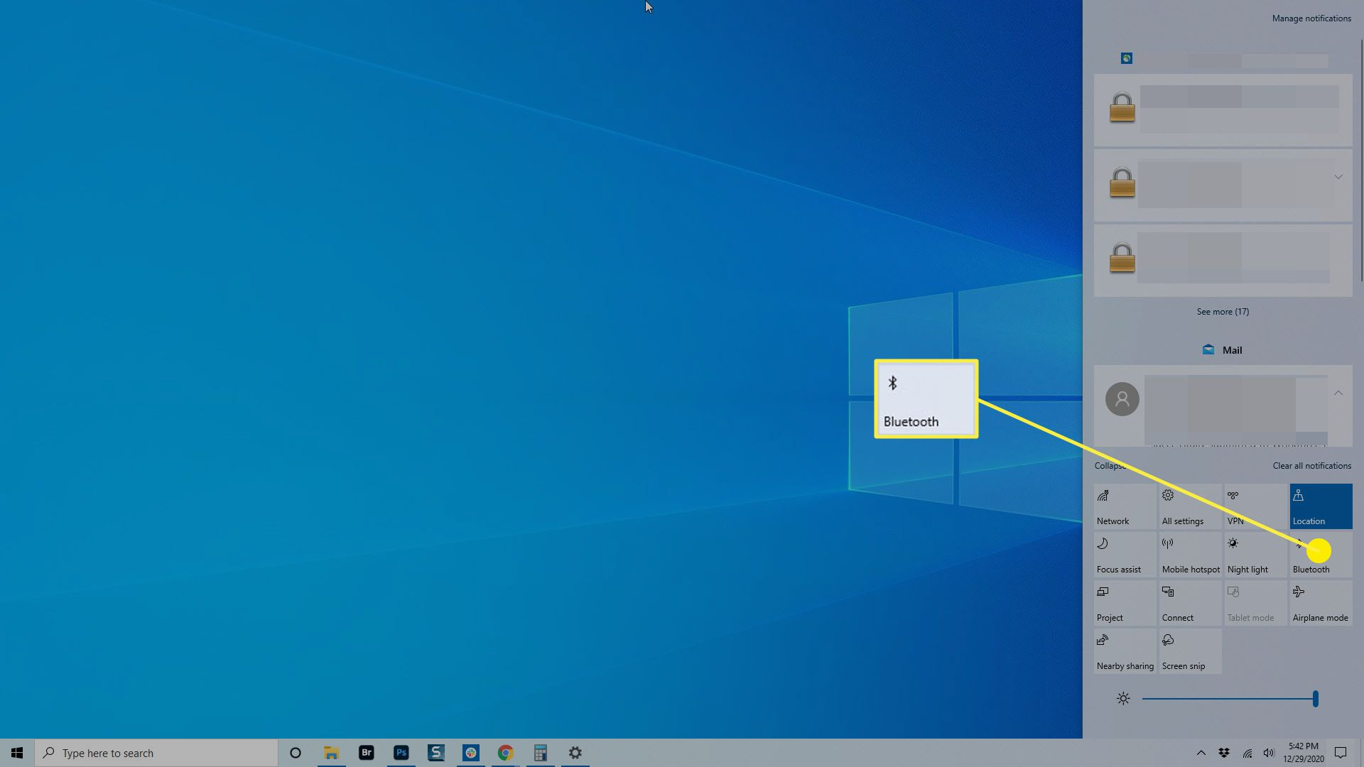 The Bluetooth option in the Windows Action Center.