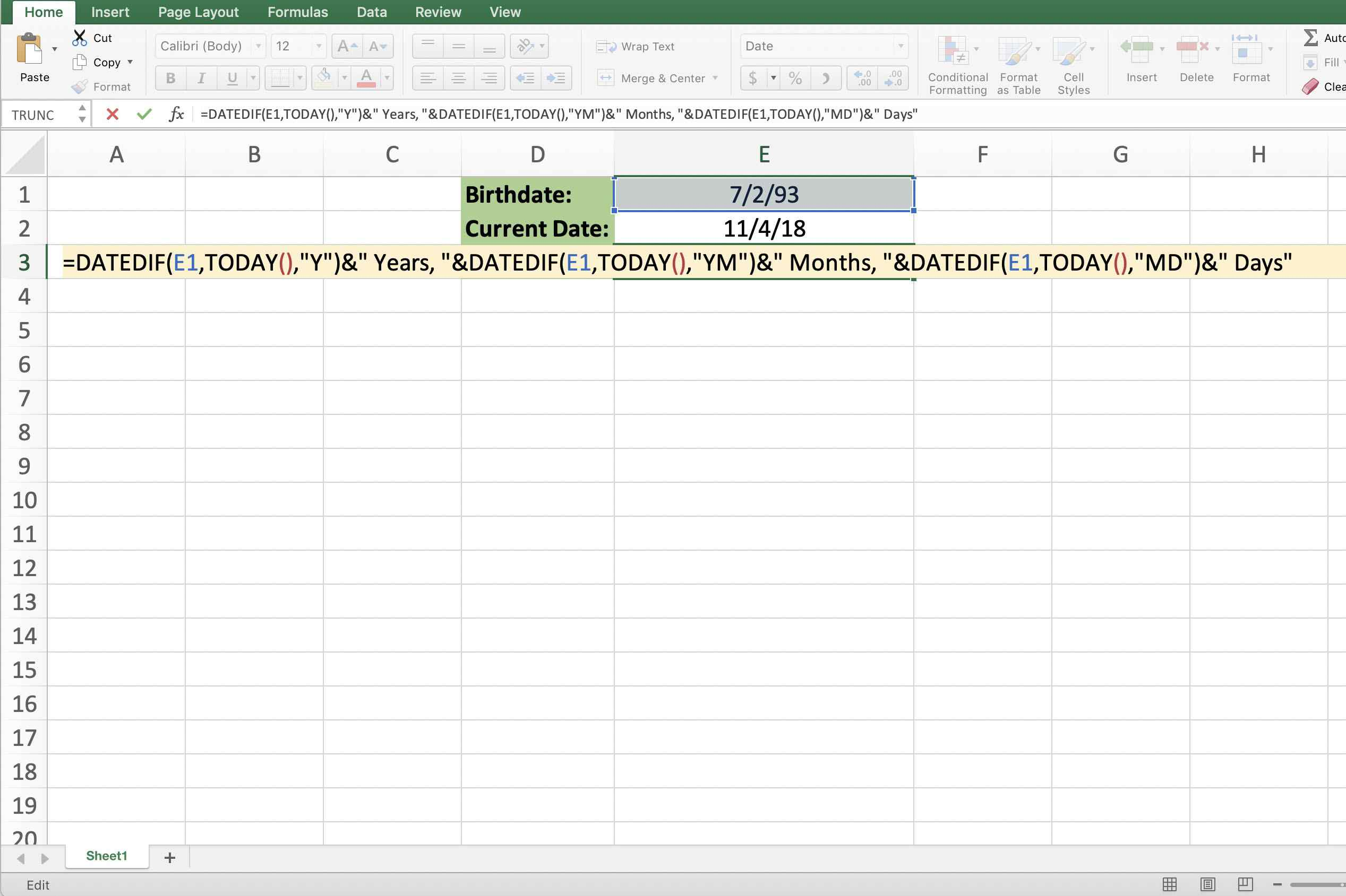 Screenshot of Excel showing the entire age formula