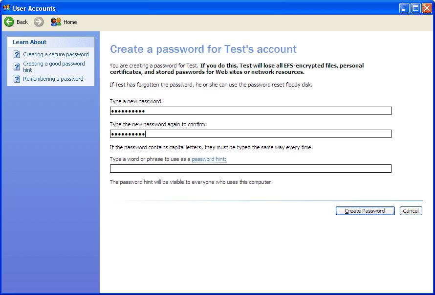 Create a password screen in Windows XP