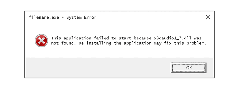 Screenshot of an x3daudio1_7 DLL error message in Windows