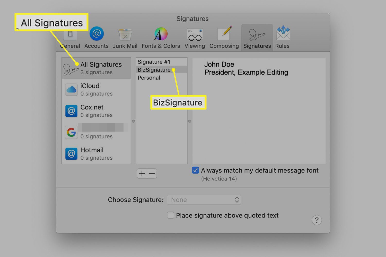 Selection of a signature in the Mail preferences