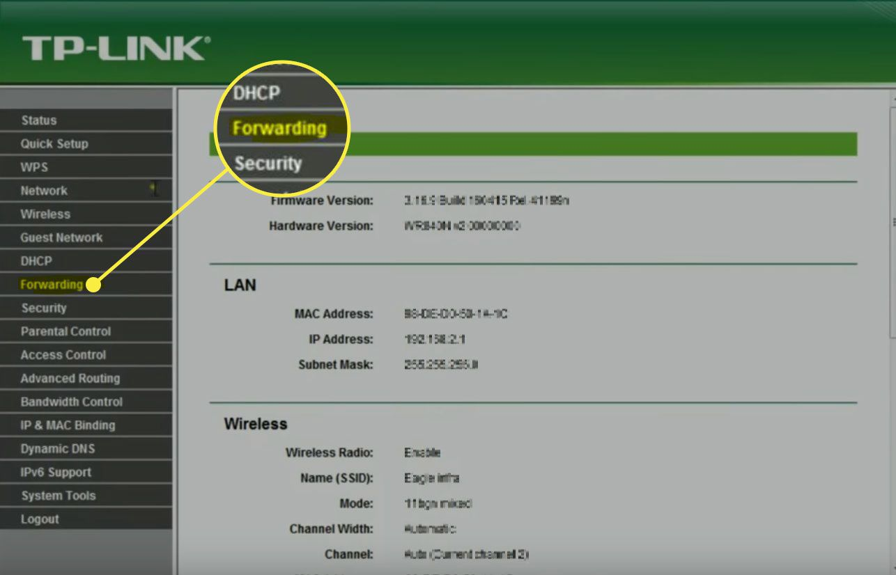 A screenshot of TP-Link with the Forwarding option highlighted