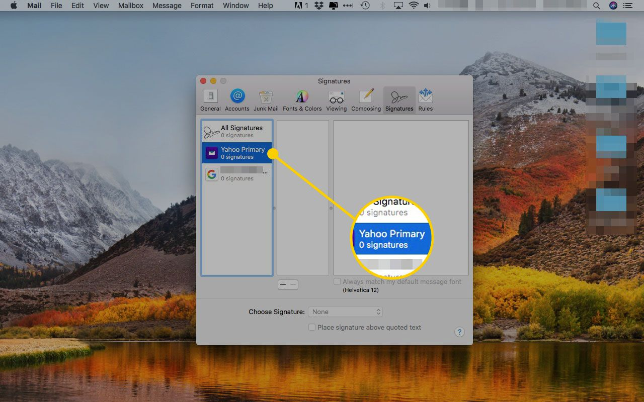 Apple Mail Signatures preferences window with an email address highlighted