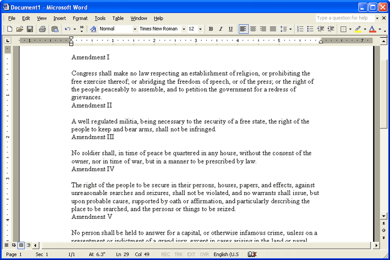 Screenshot of a document in Microsoft Word 2002