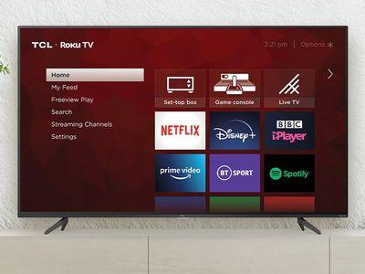 The Roku Home screen on a TV.