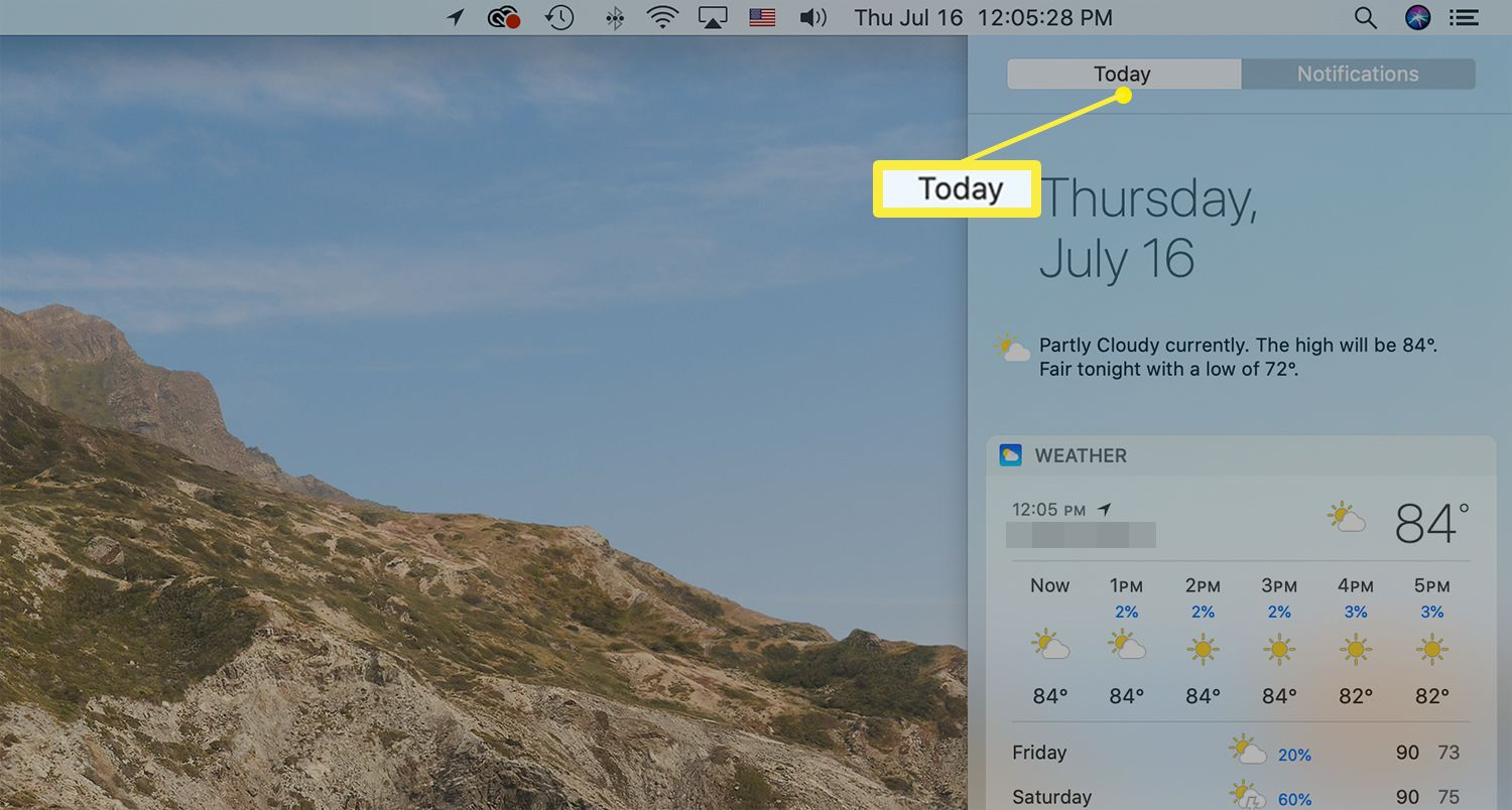 The Today tab at the top of the Notification Center on a Mac
