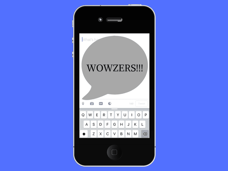 Image of the acronym Wowzers on a phone