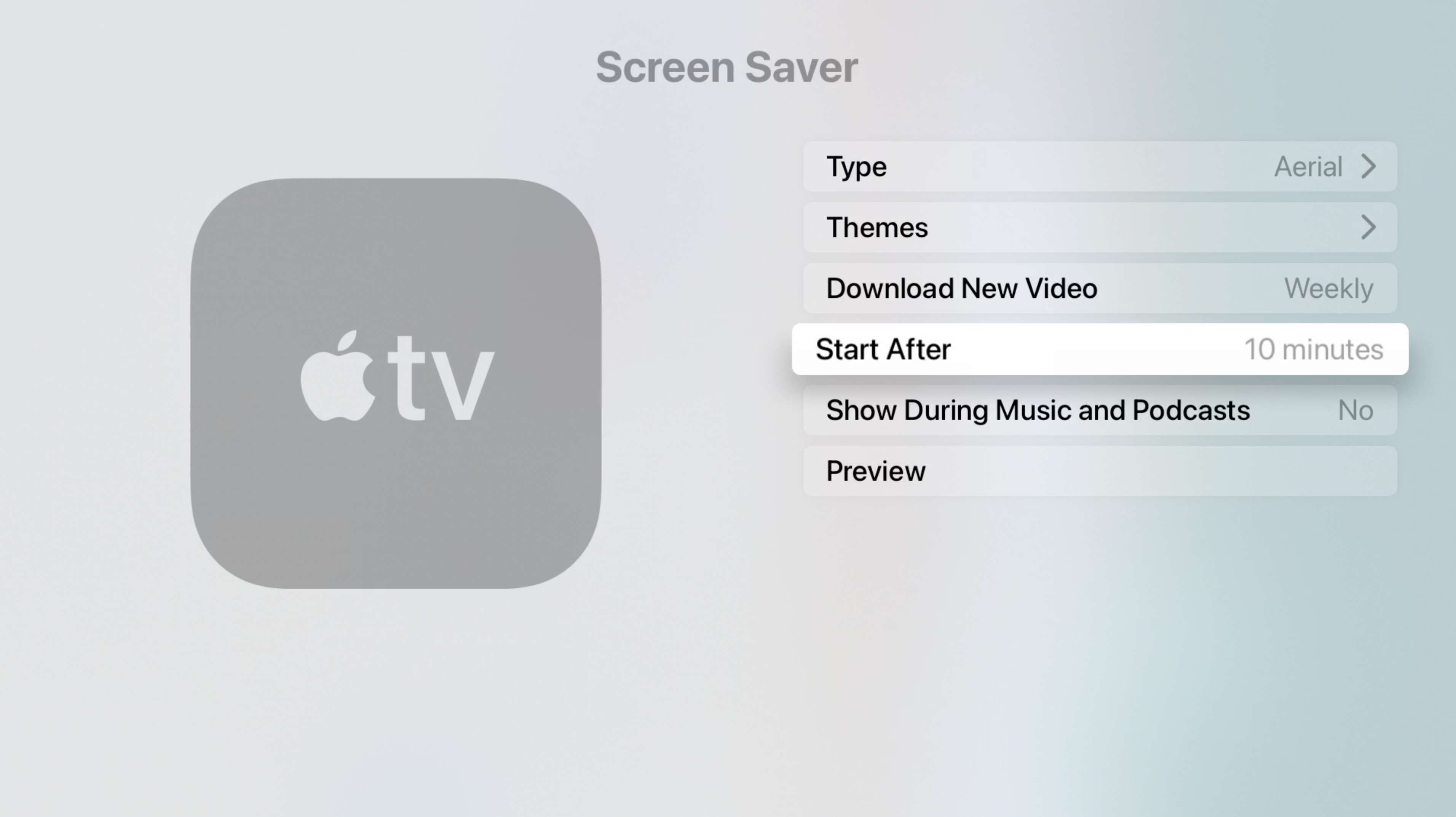 Screen Saver Options on Apple TV