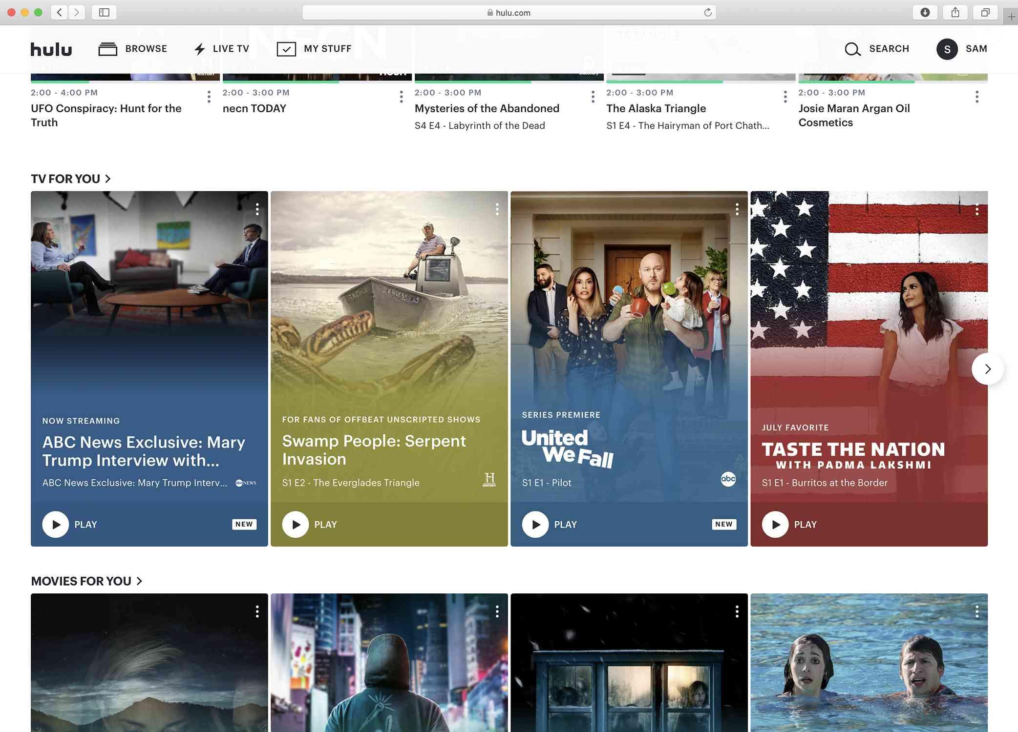 Screenshot of the Hulu homepage