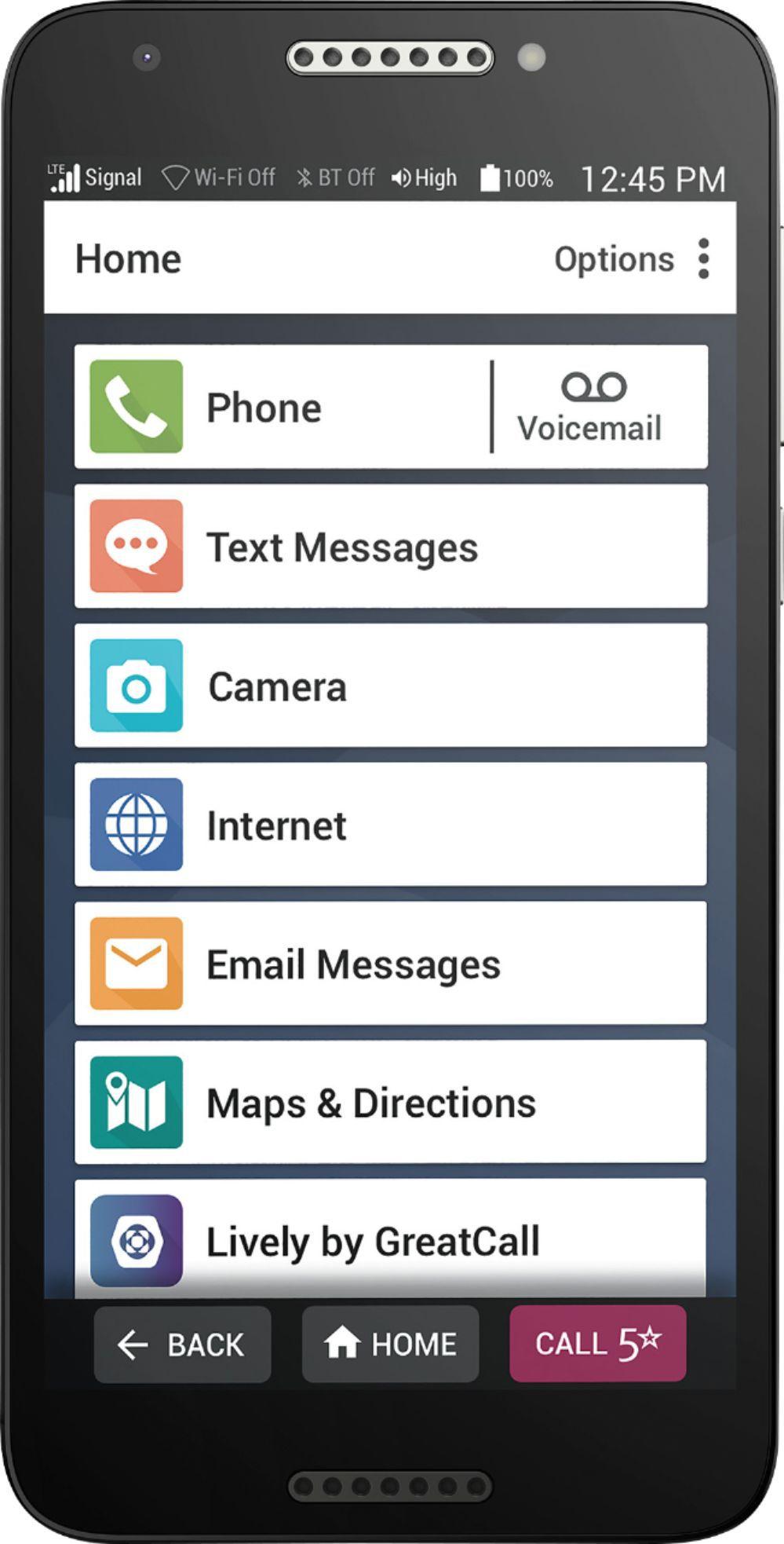 GreatCall - GreatCall Jitterbug Smart2 Prepaid Smartphone for Seniors - Black
