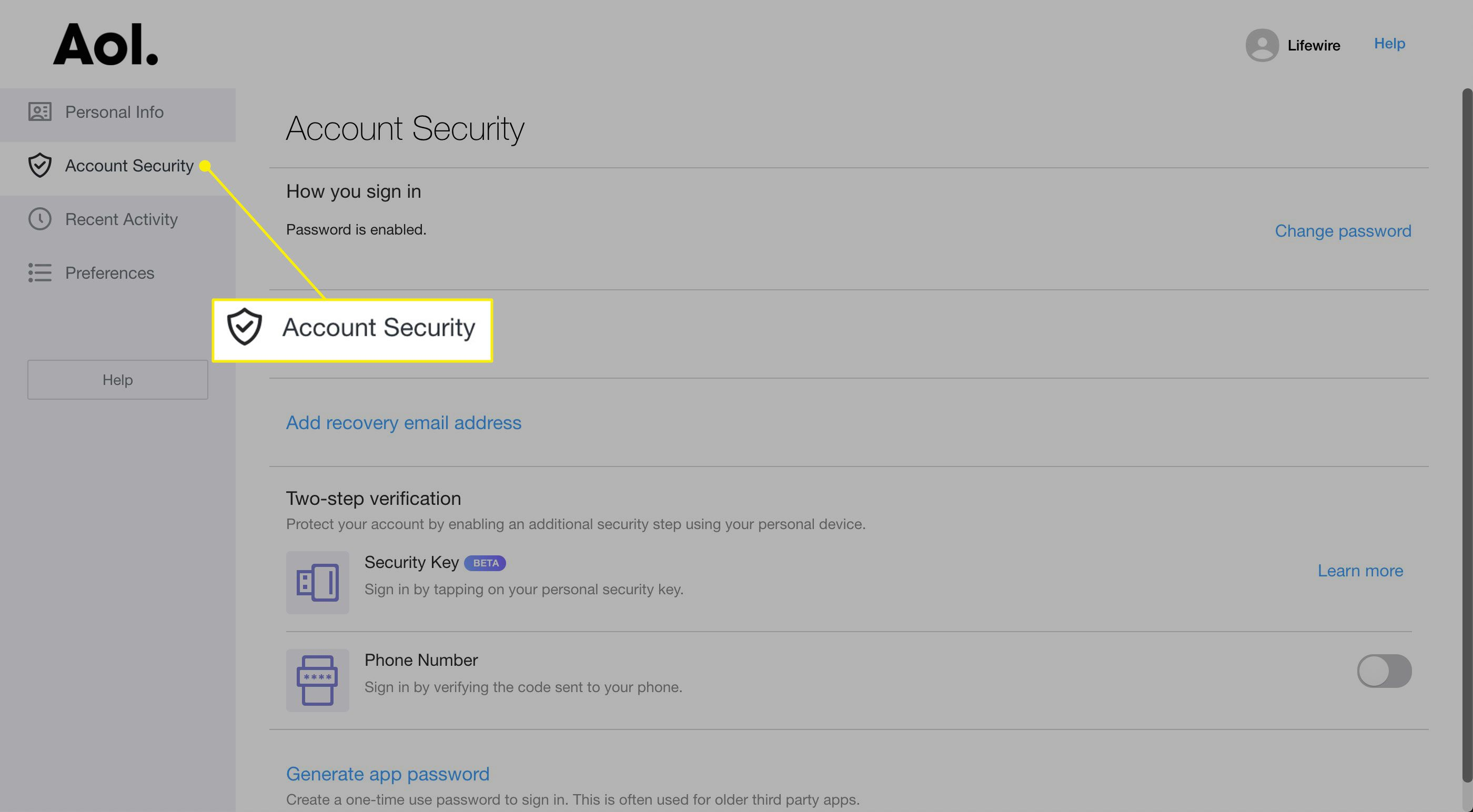 Account Security heading in AOL settings