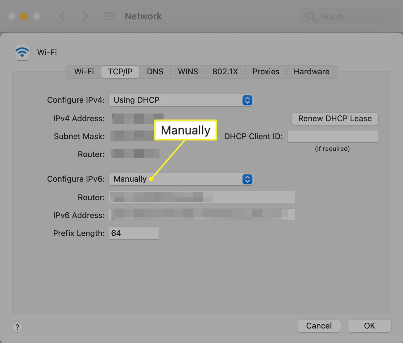 Manual configuration selection in Mac Network preferences
