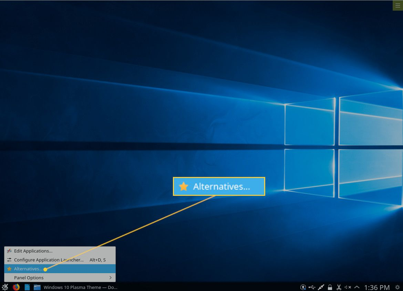 Screenshot of the K button right-click menu.