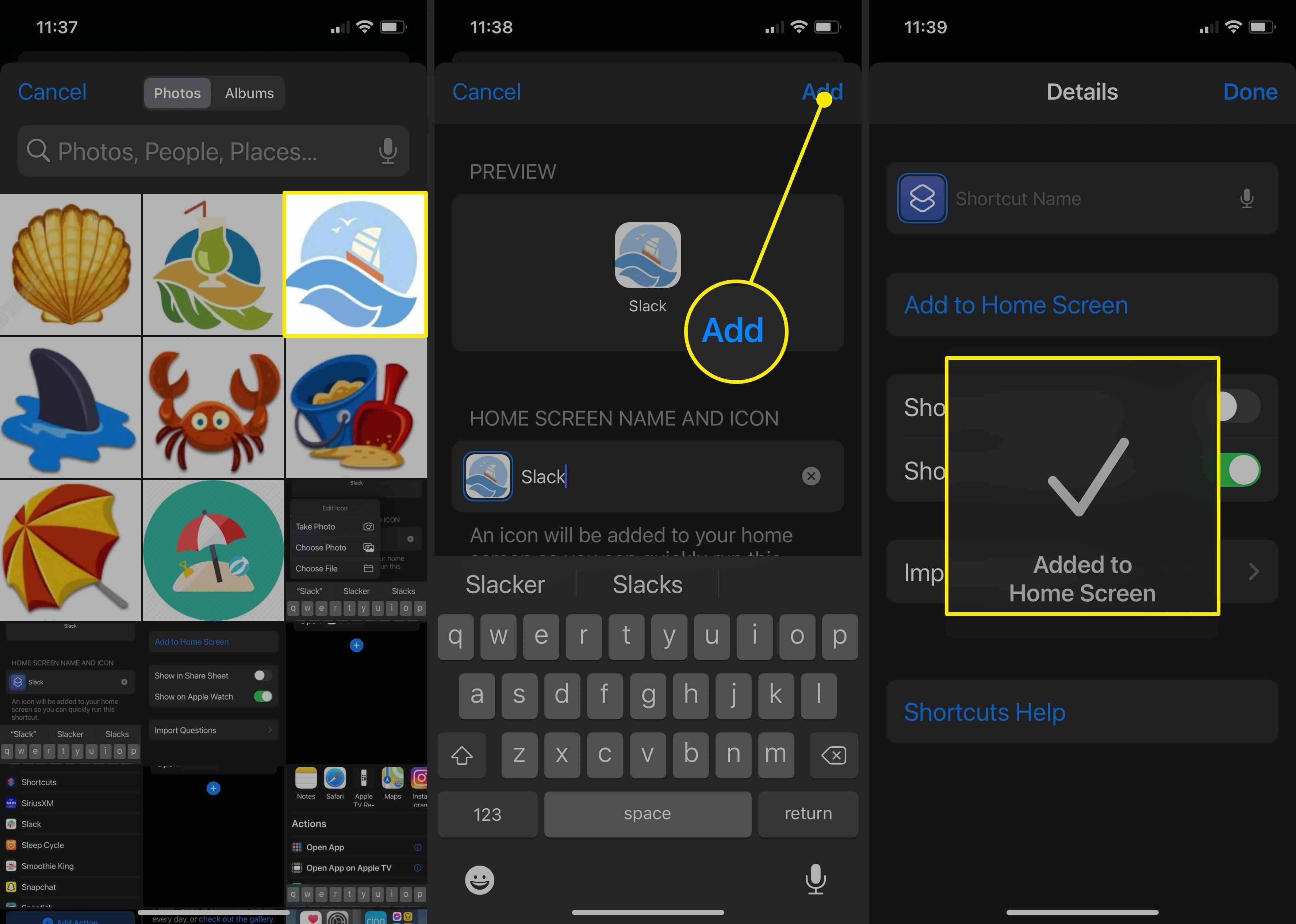 Finalizing a customized app shortcut in iOS 14.
