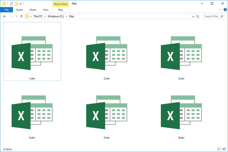 Screenshot of several XLW files in Windows 10